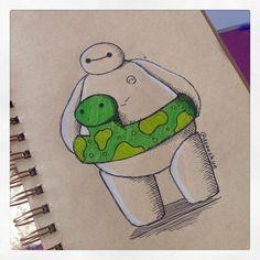 Baymax est maintenant prêt à aller à la piscine :) Bien après ce dessin, je ai réalisé son est gonflable et doesn & rsquo; t ont besoin, mais il a l'air mignon avec quand même;)