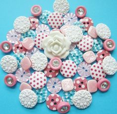 vintage and new plastic buttons w/ rhinestone