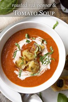 Comfort food at its best! Roasted red pepper and tomato soup is easy, creamy, and perfect for weeknight dinner or for company. Great with fried croutons, slices of crusty bread, or grilled cheese. | justalittlebitofb... #souprecipes #tomatosoup #tomatoes #redpeppers #comfortfood