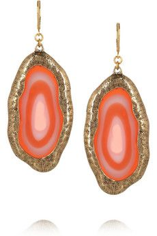 Kenneth Jay Lane - 22-karat gold-plated agate earrings