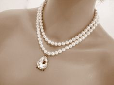 Bridal statement necklace bridal pearl necklace by treasures570