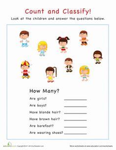 Preschool Sorting & Categorizing Worksheets: Count and Classify: Kids Preschool Math Games, Free Preschool, Preschool Worksheets, Free Worksheets, Parents As Teachers, Learning Resources, Kids Education, Basic Math, Math Skills
