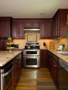 cherry cabinets with granite countertops | Crema Bordeaux ...