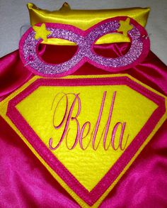 Boys & Girls Super Hero Personalized Machine Embroidered Cape and Mask for Birthday Party Gifts