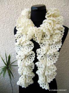 crochet scarf patterns beginners | ... Ruffle Lace Scarf Tutorial pattern ... | Craftsy Crochet P
