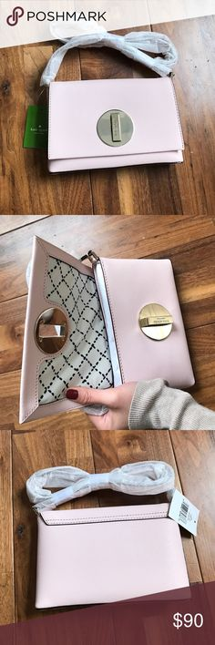 NWT Kate Spade Sally Newbury Lane Crossbody Bag Brand new, tissue paper still on strap. Comes with dust bag! Color is light pink with a black and white crisscross lining inside. Material is saffiano leather. kate spade Bags Crossbody Bags