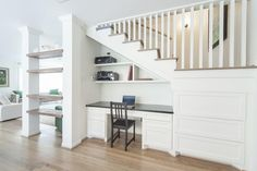 captivating space is functional with a built in desk under the stairs and under stairs study built in desk under stairs with under stairs bathroom ideas Office Built Ins, Built In Desk, Office Under Stairs, Small Space Office, Office Nook, House Stairs, Basement Renovations, Home Decor Bedroom, Living Spaces