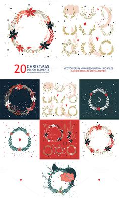 This is a collection of 20 hand drawn wreath #design elements. #Christmas and New Year Holidays, Winter and Autumn season vibes.  Perfect #template for your business and design projects.