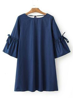 Shop Lace Up V Back Shift Dress online. SheIn offers Lace Up V Back Shift Dress & more to fit your fashionable needs.
