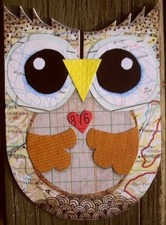 owl made out of maps