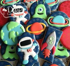 Space Astronaut Rocket Ship Alien Planet Birthday Cookies - 1 Dozen (12 Pcs) by Dolce Custom Cookies on Gourmly