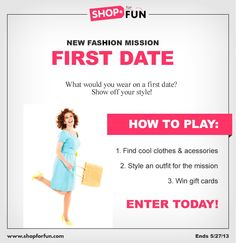 Create an outfit for easter sunday for your chance to win a gift put together a look for a first date and you could win a gift card play shop for fun now negle Image collections