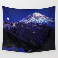 Mt Rainier Sunset and Full Moon 2017 Wall Tapestry