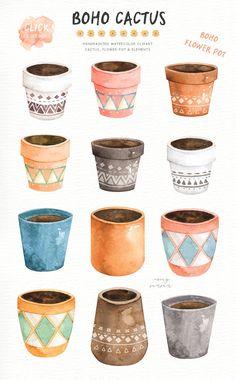 Boho Cactus Watercolor Cliparts Boho Clipart Botanical | Etsy