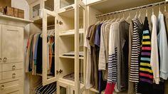 Sweater storage behind custom glass doors || A Divine Closet