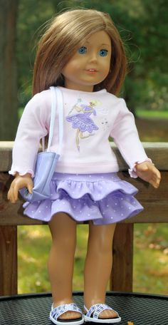 Embroidered TShirt Lilac Ruffled Skirt and by buttonandbowboutique, $18.00