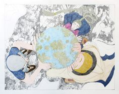 Shuvinai Ashoona, Composition (Holding Up the Globe), ink and coloured pencil on paper, x 120 cm, collection of BMO Financial Group. Inuit Art, Canadian Art, Detailed Drawings, Contemporary Artists, Colored Pencils, Book Art, Kids Rugs, Ink, Artwork
