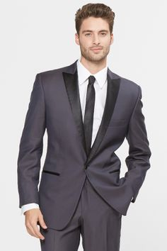 The Roma. A killer look. Charcoal grey tuxedo with black lapels and a black tuxedo pant stripe | menguin.com
