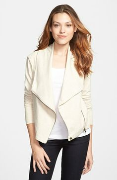 it's an ivory moto style jacket in sweatshirt material. does it get better than this? {40% now during Nordstrom's Half Yearly Sale!!}