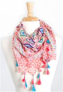 Tribal Aztec Scarf with Tassels in Coral SB-949-CORAL