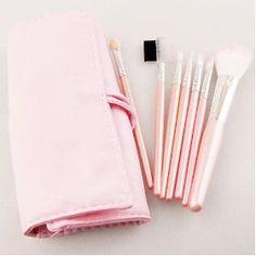 New 7 pcs Makeup Brushes Cosmetic Brushe Set Pink case $2.99