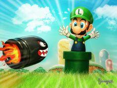 Luigi and Bullet Bill by Vinícius de Moura www.viniciusmt2007.deviantart.com/