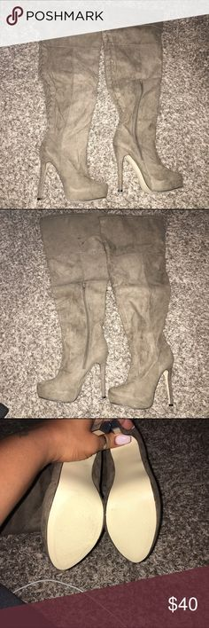 Suede Lace up thigh high boots These boots are brand new and never have been worn. ALL CLOTHING is either NWT or Preloved has been washed and sanitized and kept in a 🐾 pet free and 💨 smoke free home.   Too expensive gonna break the bank. Than add me to a 🛍 bundle deal or use the Offer 🖲 Button.    🚫NO LOW BALLING 🚫 Reasonable offers will be accepted, I do love negotiating. But Please Do Not 🚫🙅🏽 offer 40% below the asking price. JustFab Shoes Over the Knee Boots