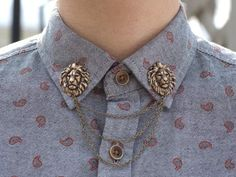 antique bronze lion head collar clip/chain dapperandswag - etsy  everything in this shop is on fucking point