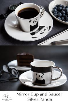 Elegant Panda Image reflected on a Silver mirror cup from a matching Silver trim saucer plate. Find pleasure by using this mirror reflection cup set created by the latest electroplating technology. Bring your tea or coffee time to the next level of luxury. The mirrored cup gift set comes with either gold or silver reflections and different designs or patterns on the saucers. The image is perfectly reflected by the mirrored cup. Mirror Cup, Panda Images, Cupping Set, Coffee Time, Cup And Saucer, Reflection, Plates, Technology, Tea