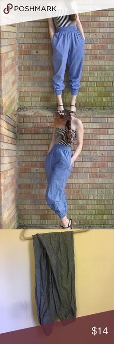 American Apparel Denim-like Harem Pants Flowy harem pants with a denim print. Scrunchy waist and ankles Pants Track Pants & Joggers
