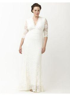 1940s style Plus Size wedding dress. Amour lace wedding dress by Kiyonna Lane Bryant Womens Size 3X white $324.00 AT vintagedancer.com