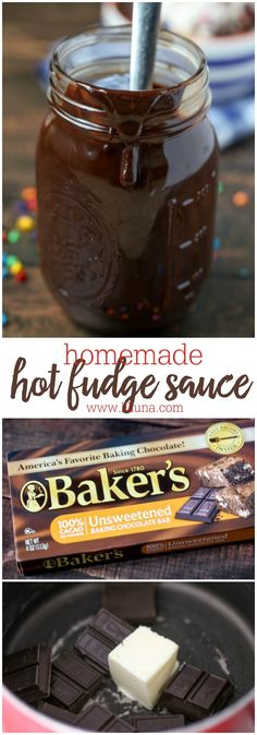 Delicious Homemade Hot Fudge Sauce recipe - perfect for desserts and especially for ice cream! It's so easy, creamy and yummy!