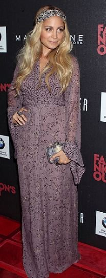 Who made Nicole Richie's maxi dress, clutch and jewelry that she wore in Beverly Hills on September 8, 2011? Dress – Winter Kate  Purse and jewelry – House of Harlow