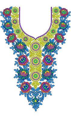 Pakistani Caftan   Yock Neck Embroidery Design