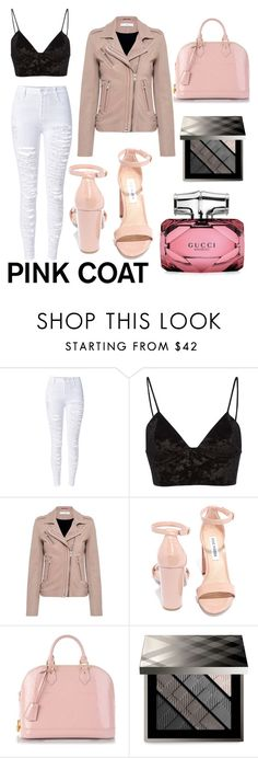 """pink coat"" by libil ❤ liked on Polyvore featuring WithChic, Fleur du Mal, IRO, Steve Madden, Louis Vuitton, Burberry and Gucci"