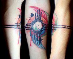 watercolor zia symbol tattoo | by Deanna Wardin @ Tattoo Boogaloo