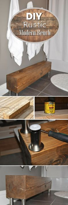 18 Amazing & Easy DIY Wood Craft Project Ideas for Home Decor - how to build an easy #DIY rustic modern bench. Great project idea! #homedecor