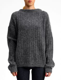 dramatic mohair ribbed sweater
