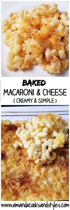 baked macaroni and cheese; baked mac and cheese; baked creamy and simple mac n cheese