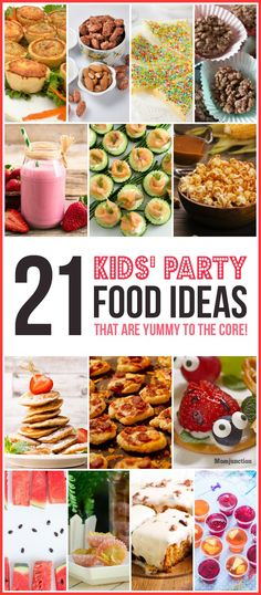 21 Kids Party Food Ideas That Are Yummy To The Core! Preparing kids' party foods is not an easy task. However, you can make it colorful, healthy and kid-friendly by trying these children party food treats. Party Food For Toddlers, Kids Party Menu, Party Ideas, Toddler Food, Toddler Party Foods, Boy Toddler, Baby Boy, Birthday Party Appetizers, Appetizers For Kids