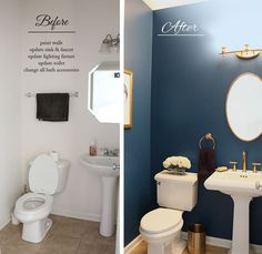 Royal blue bathroom decor blue and gold bathroom gold bathroom ideas powder room makeover before and Navy Blue Bathrooms, Black And Gold Bathroom, Blue Bathroom Decor, Bathroom Interior Design, Bathroom Ideas, Bathroom Accessories, Bathroom Designs, Blue Bathroom Paint, Small Bathroom Paint Colors