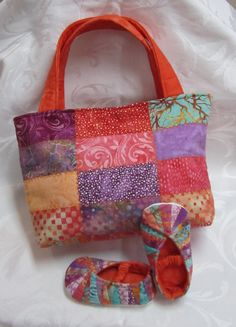 Little girls slippers from the pattern Jack & Jill Slippers and Tote Bag from Cool Cat Creations.