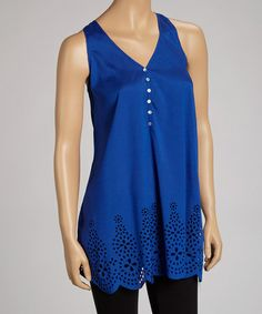 Take a look at this Royal Blue Scallop-Hem Eyelet Tank by Simply Irresistible on #zulily today!