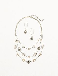 Layered Beaded Necklace and Earring Set