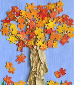 As your kids tire of puzzles, use the pieces to create a Fun Fall Puzzling Tree.