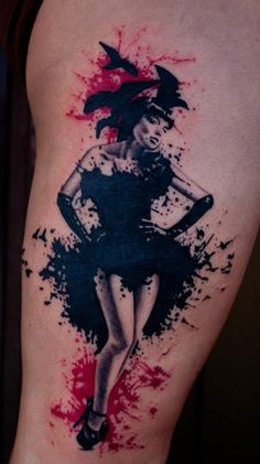 Love the splatter paint effect. maybe the pinup i want on my thigh ?