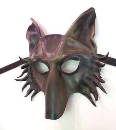 Wolf Leather Mask dog shepherd in Grey Brown & Black by teonova
