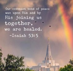 Margaret Baker temple theology theosis cosmos mysticism translation Isaiah 53:5 #bibleverse #lds #temple #priesthood #ldstemple #truth #unity #zion #cometozion    Our covenant bond of peace was upon Him and by His joining us together, we are healed.