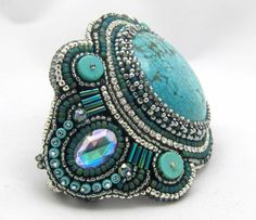 handmade bead embroidery turquoise and crystal chain bracelet