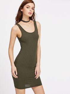 Shop Double U Neck Ribbed Knit Bodycon Tank Dress online. SheIn offers Double U Neck Ribbed Knit Bodycon Tank Dress & more to fit your fashionable needs.